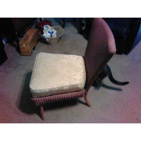 Image of Slipper Chair Wicker & Bent Cane Back 1955
