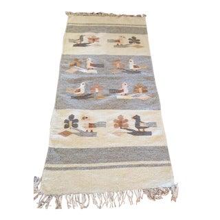 Vintage Wool Bird Rug - 2′ × 5′