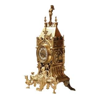 19th Century French Renaissance Bronze Mantel Clock With Fleurs-De-Lys