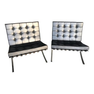 1970 Vintage Knoll Barcelona Lounge Chairs - a Pair