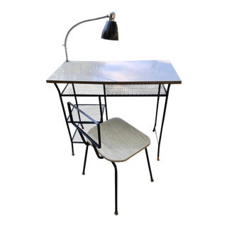 Mid Century Modern Mesh Desk Set With Gooseneck Lamp