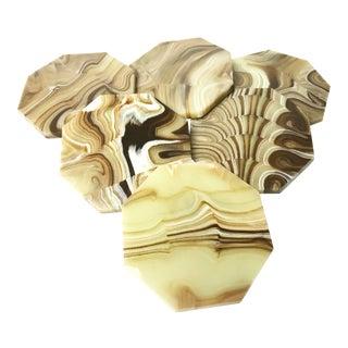 Mid-Century Hand Made Onyx Marble Coasters - Set of 6