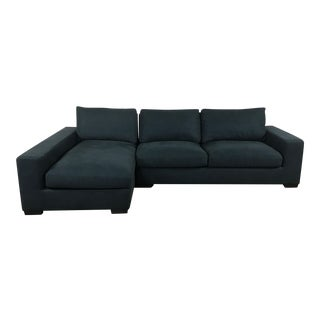 Navy Canvas Modern Sectional Sofa