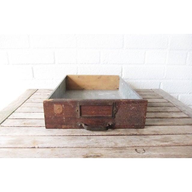 Image of Vintage Rustic Wood & Metal Drawer Box