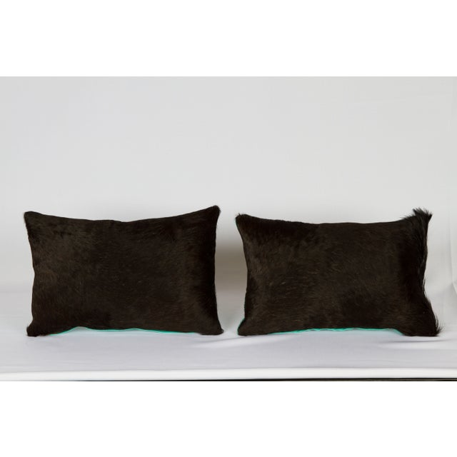 Image of Black & Turquoise Cowhide Pillows - A Pair