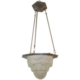 Art Deco Glass and Nickeled Bronze Hanging Light Fixture by Verrerie des Hanots