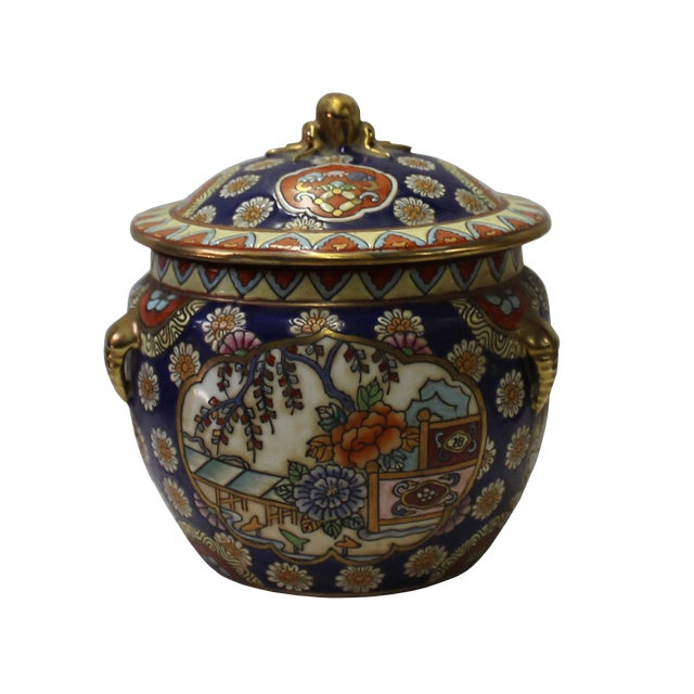 Chinese Oriental Porcelain Flower Scenery Container Box - Image 1 of 6