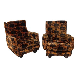 Vintage French Retro Brown Armchairs - A Pair