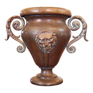 Volute Handled Copper Urn