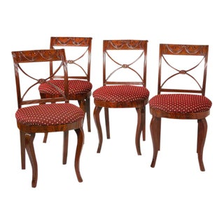 Set of Four Carved Mahogany Side Chairs