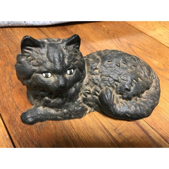Iron cat door stop chairish - Cat door stoppers ...