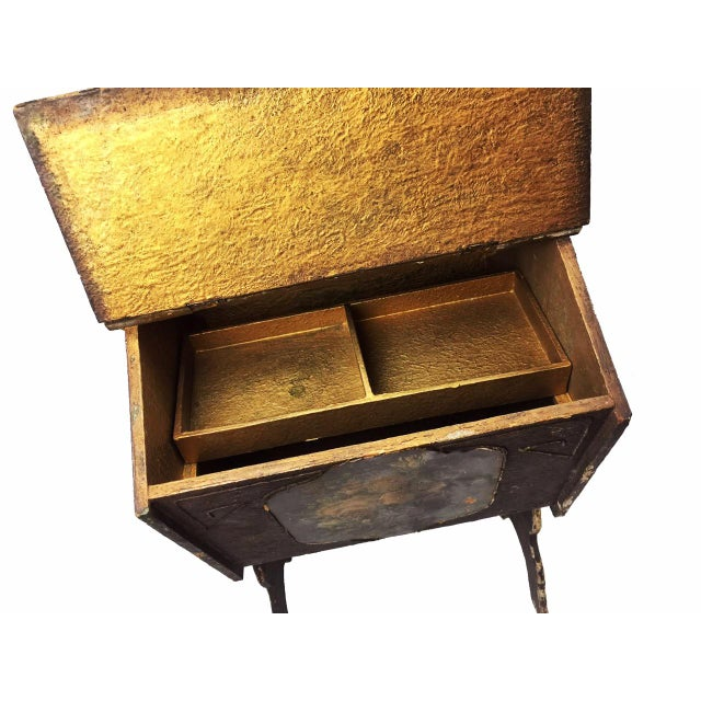 Antique Victorian Wooden Standing Sewing Box - Image 4 of 6