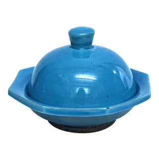 Hand Painted Blue Small Ceramic Serving Dish with Lid- Octagon Design