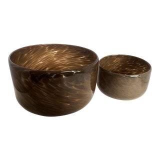 Mid-Century Murano Swirled Art Glass Bowls Set