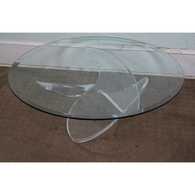 Image of Knut Hesterberg Glass Top Lucite Base Coffee Table