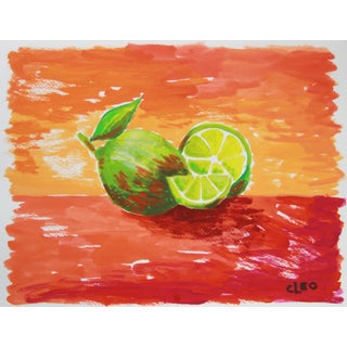 """""""Lime Pair"""" Abstract Still Life Painting by Cleo"""