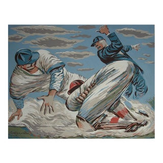 """""""Out at Home,"""" important 1942 baseball-theme work by Fletcher Martin"""