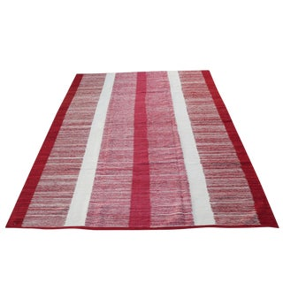Red Striped Kilim Rug - 6′9″ × 9′3″