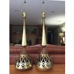 Image of Tony Paul Mid Century Walnut Brass Lamps - Pair