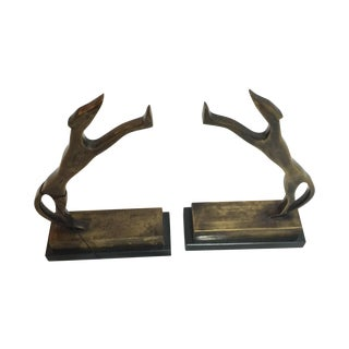 Antique Brass Dog Bookends - Pair