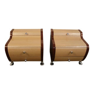 Modern Chrome Accented Lacquered Nightstands- A Pair