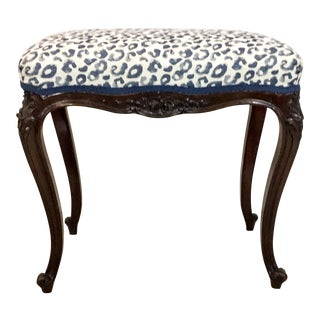 Antique Carved French Ottoman in Leopard