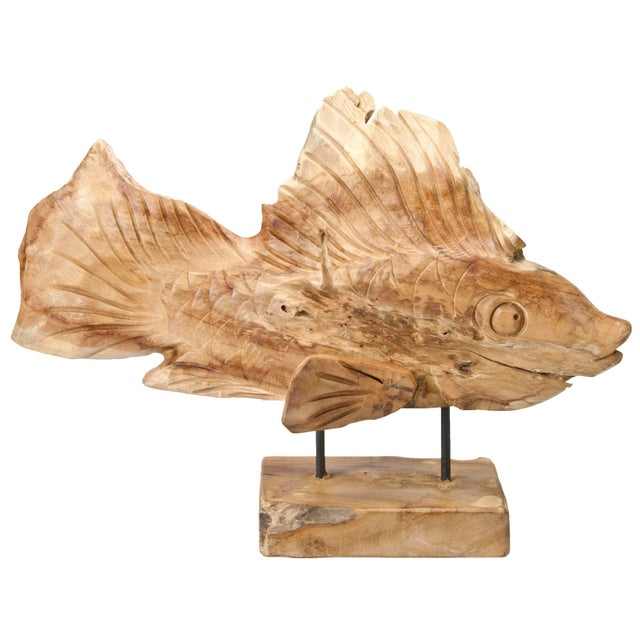 Hand carved driftwood fish on stand chairish