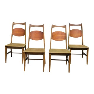 Vintage Bassett Mid Century Modern Walnut Dining Chairs - Set of 4