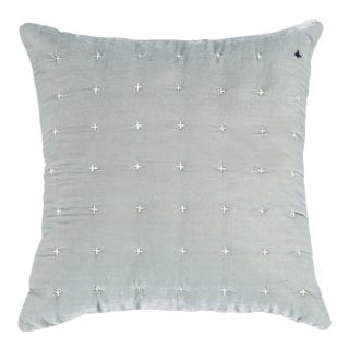 Embroidered Silk Sky Blue Velvet Pillow