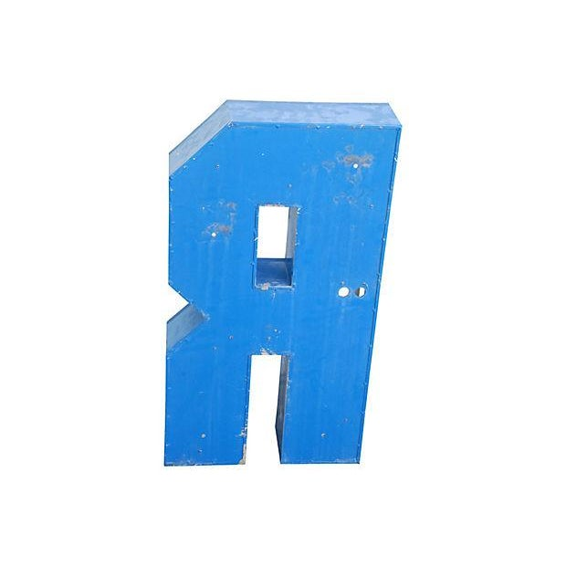 Lg. Industrial Blue & White Metal Marquee Letter R - Image 6 of 6