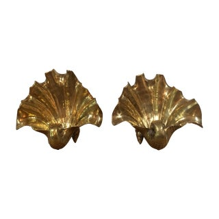 Solid Brass Seashell Bookends - Pair