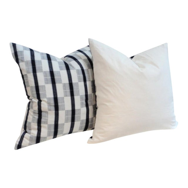 Image of Pair of 19th Century Linen Patch Work Pillows with White Homespun Linen Back