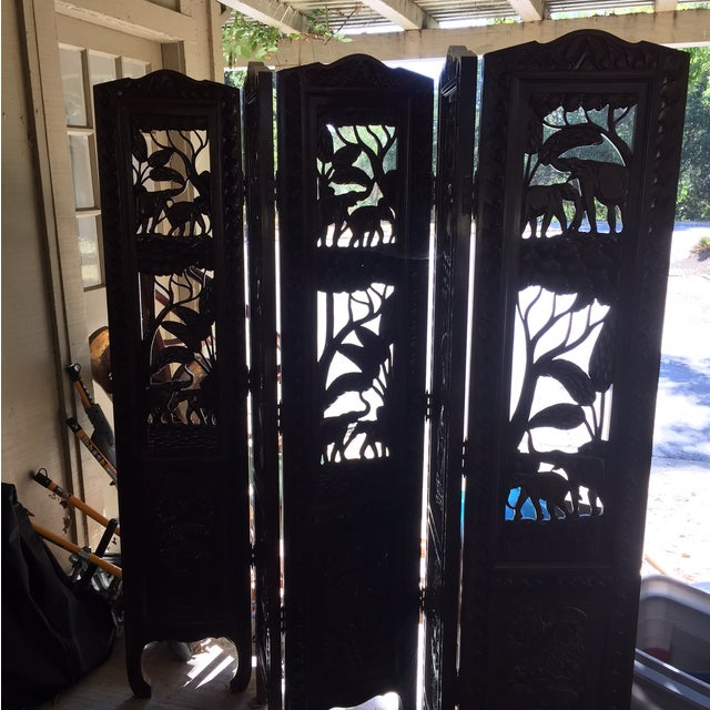 Image of 5 Panel Engraved Wood Screen From Indonesia