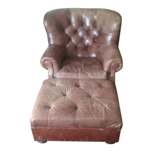 Ralph Lauren Writers Chair & Ottoman - Image 1 of 4