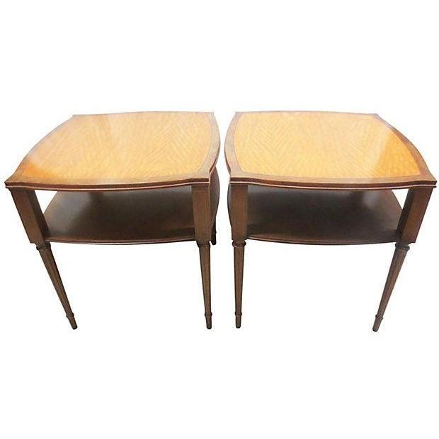 Image of Inlaid Henredon Mahogany Side Tables - Pair