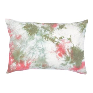 "Coral & Green Hand Dyed Shibori Marbled Pillow Cover - 14"" x 20"""