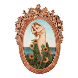 Art Nouveau Nude With Sunflowers