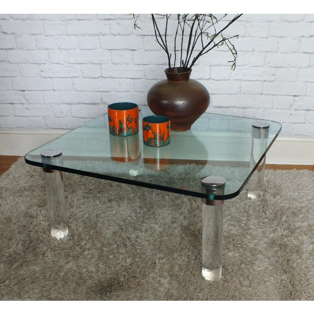 Pace Collection Lucite & Glass Coffee Table - Image 6 ...