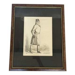Vintage Lithograph Portrait Male Dandy