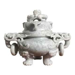 Chinese Gray Nephrite Jade Censer, mid 20th century