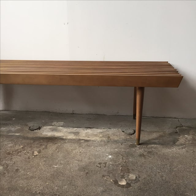 Mid-Century Yugoslavian Slat Bench With Peg Legs - Image 3 of 11