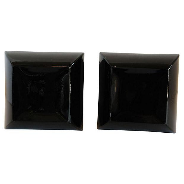 Image of Black Glass Italian Mallard Vases - A Pair