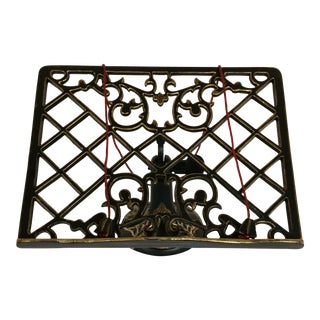 Vintage Black Cast Iron & Gold Accent Adjustable Book Holder