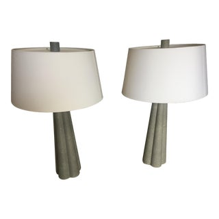 Arteriors Home Lawton Shagreen Leather Table Lamp - a Pair