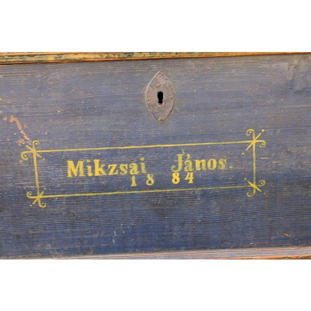 19th Century Original, Blue Painted Blanket Chest - Image 10 of 10
