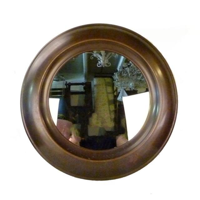 Superior Large Round Mid Century Brass Mirror Decaso