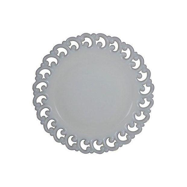 Antique Milk Glass Lace Edge Plates - Set of 8 - Image 2 of 6