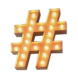 "24"" Vintage Marquee Hashtag Light"