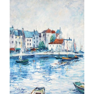 Vintage Mediterranean Coast Oil Painting