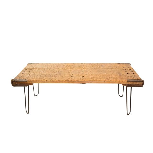 Reclaimed Wood Coffee Table Legs: Industrial Reclaimed Wood & Hairpin Legs Coffee Table